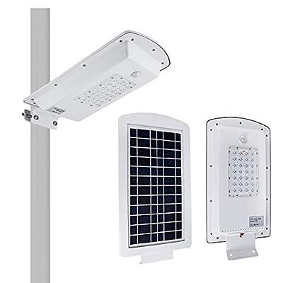 Brillihood LED Integrated Solar Street Light, IP65 Waterproof Solar Powered Pole Light, 1200LM, 6000K (Bright White) Security Area Night Lighting for Street Gutter Patio Garden Path