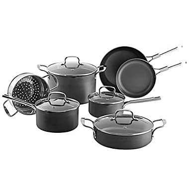 SALT Nonstick Durable Hard Anodized 11-Piece Nonstick Surface Cookware Set- consistently deliver fast and even heating