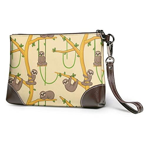 XCNGG Cute Cartoon Sloths Clutch Purses Bolso de cuero Wristlet Clutch Wallet Monederos para mujeres