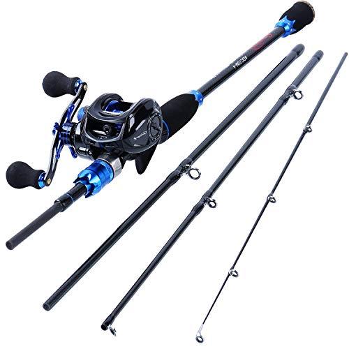 Sougayilang Combinaciones de carretes y cañas de Pescar, cañas de Pescar de Fibra de Carbono de 24 toneladas con Carrete Baitcasting -1.8M Rod with Left Reel