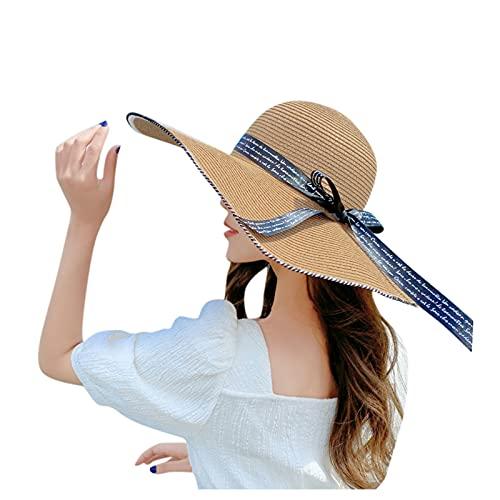 BIBOKAOKE Sombrero de paja para mujer, para verano, plegable, con ala ancha, para verano, playa, protección UV, elegante, para vacaciones de playa F7. Talla única