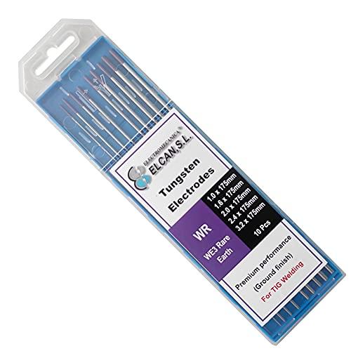 ELCAN Tungstenos soldadura TIG Tierras Raras Morado Violeta E3 profesional, electrodos soldadura para torcha TIG de 1,0 1,6 2,0 2,4 3,2 mm, 10 unidades - Dimensiones: 1,0/1,6/2,0/2,4/3,2 x 175 mm