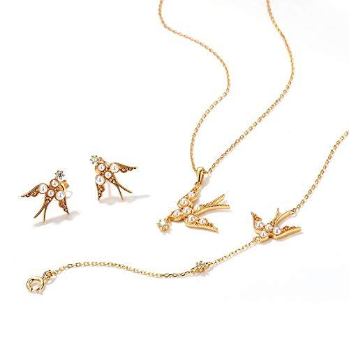 Kunze Kits de joyería para Mujer Elegantes, Plata de Ley 925, Moda Simple, Forma de Animal Lindo con Incrustaciones de Perlas Blancas, Conjuntos de joyería para Mujer, Pendientes/Pulsera/Collar