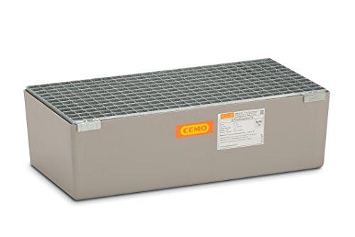CEMO 7717 GFK-Auffangwanne mit verzinktem Gitterrost, grau, 65 L