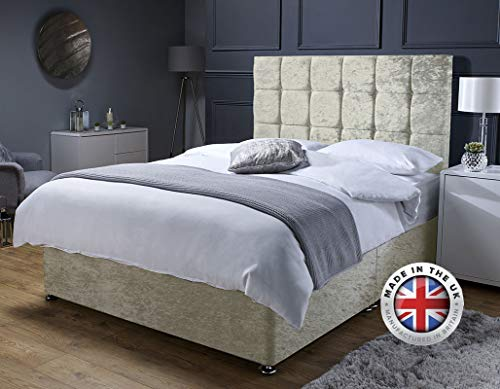 Revive Direct Premium - Champagne Crush Velvet Double Bed with Mattress, Headboard and Chrome Feet - Memory Foam Mattress Included - (4ft6 Double - 0 Drawers)