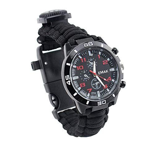 Relojes Supervivencia Militar Multifuncional Reloj Hombre Deportivo Cuerda Trenzada Reloj Silbato Brújula Termómetro, Negro