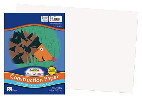"Price comparison product image SunWorks Construction Paper,  White,  12"" x 18"",  50 Sheets"