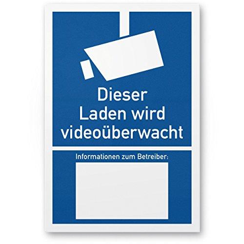 Laden wordt videobewaking kunststof plaat volgens DIN 33450 (20 x 30 cm), waarschuwingsaanwijzing, waarschuwingsbord videobewaking - informatie leveranciers, opmerking videobewaking - gegevensbescherming BDSG/DSGVO