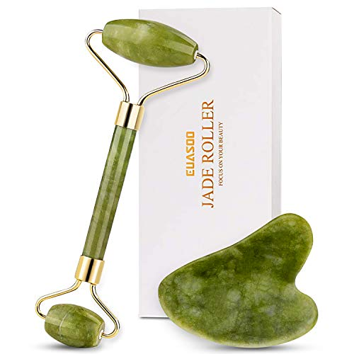 Jade Roller for Face, Jade Roller and Gua Sha Set, EUASOO 100% Real Natural Beauty Jade Facial Roller Massage Tool for Face Eyes Neck Body – Anti Aging Beauty Treatment