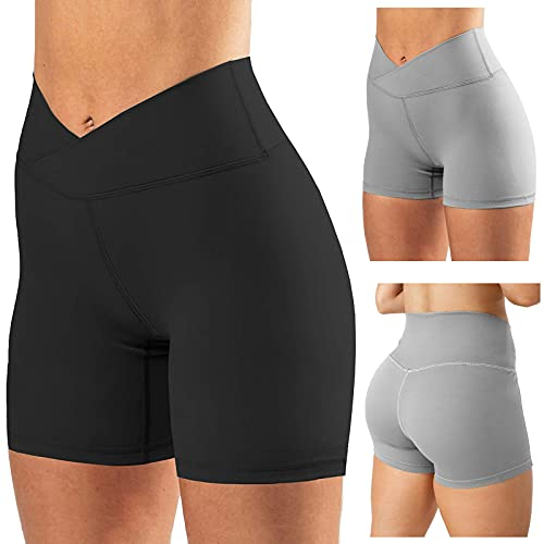 IGETELY Biker Shorts Women High Waist Tummy Control Workout Running Compression Buttery Soft Exercise Shorts Yoga Pants Black