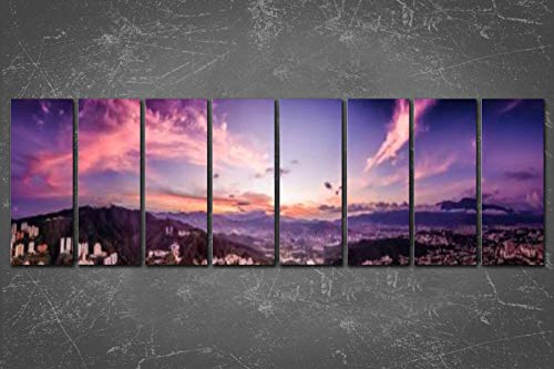 PeeNoke 8 Panel Extra Large Wall Art Decor Panoramic Image of Caracas City Aerial View with El Avila Print On Canvas Wall Art for Office Home Living Room Decor with Framed Ready to Hang