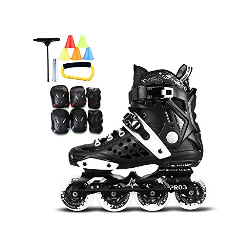 XZ15 Inline-Skates, Erwachsene einreihig Skates Rollschuhe Professionelle Männer und Frauen-Skates Full Set (Color : Black+B, Size : 44 EU/11 US/10 UK/27cm JP)