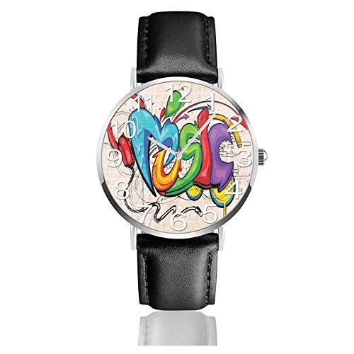 Reloj de Pulsera Amante de la música Durable PU Correa de Cuero Relojes de Negocios de Cuarzo Reloj de Pulsera Informal Unisex