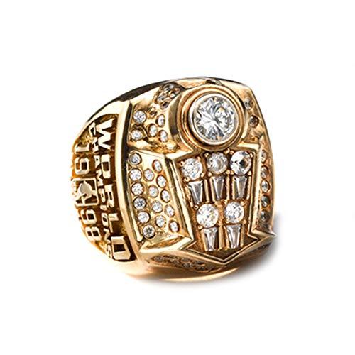 WSTYY NBA Chicago Bulls 1998 Jordan Championship Ring Anillos de Campeonato, Campeones del Super Bowl Anillo de réplica para Aficionados del Recuerdo de la colección del Regalo