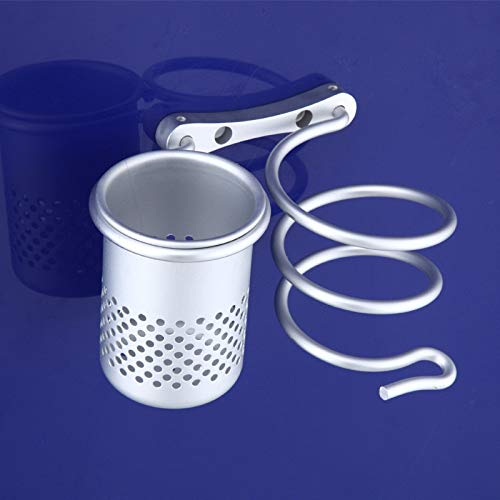 Huangjiahao Support de sèche-Cheveux en Spirale en Aluminium avec Support pour Fer à Lisser pour Les Outils de Soins des Cheveux, Métal, Argenté, 130mm
