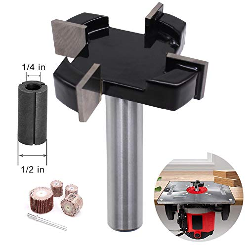 CKE 4 Wings Wood CNC Spoilboard Surfacing Router Bit 1/2' Shank, Slab Flattening Router Bit Carbide Planer Router Bits Wood Milling Cutter Planing Tool Woodworking Tools