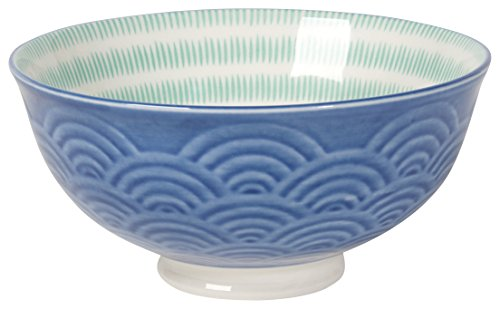 Now Designs 5 inch Embossed Bowls, Set of 6, Blue Waves