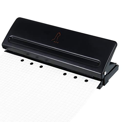 RosewineC 6- Locher Binder Puncher für A5 / A6 / A7,Verstellbarer Abstände Locher aus Metall Binder Locher Papierkarten Foto Bindungs Locher Maschine (Schwarz)