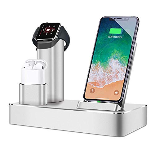 Wireless Charger Wireless Charging Station for Apple Watch Stand Wireless Charging Phone Stand KPAO 80W 6 in 1 Aluminum Compatible with Airpods Watch Series 4/3/2/1 iPhone Xs MAX/XR/XS/X/8/8Plus