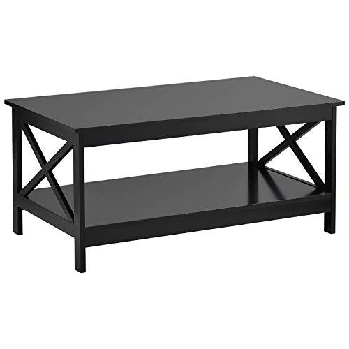 QWEPOI Mesa de centro para salón, universal, 100 x 60 x 47 cm, diseño moderno, en X, de madera, con estantería de almacenamiento, mesa de café, color negro