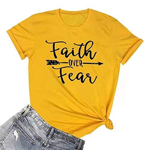 DREAMING-Tops de Primavera y Verano para Mujer, Camiseta Holgada con Estampado de Letras, Cuello Redondo, Camiseta Informal de Manga Corta XL