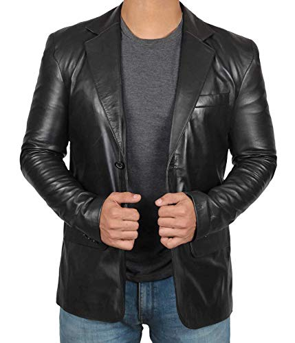 fjackets Lambskin Black Mens Blazer - Genuine Leather Jackets For Men | [1500565], Black Blazers XL