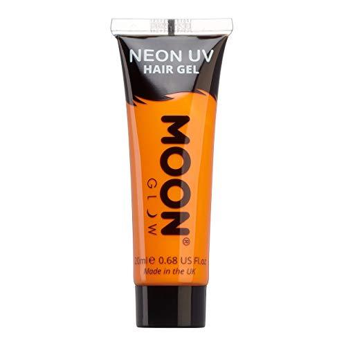 Moon Glow – Gel fluo UV pour les cheveux. 20 ml Intense Orange - Coloration Cheveux Temporaire dye, Crème Colorant De Cheveux - Pour des crêtes fluorescentes !