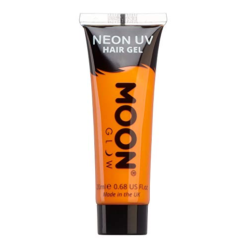 Moon Glow - Gel para el Cabello Neón UV - Intenso Naranja 20 ml - ¡Péinate de punta y...