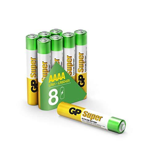 GP AAAA Batterien (Typ Mini / LR61) Super Alkaline, Pack mit 8 Stück Batterien AAAA, perfekt für Stylus Pens, Stirnlampen etc.