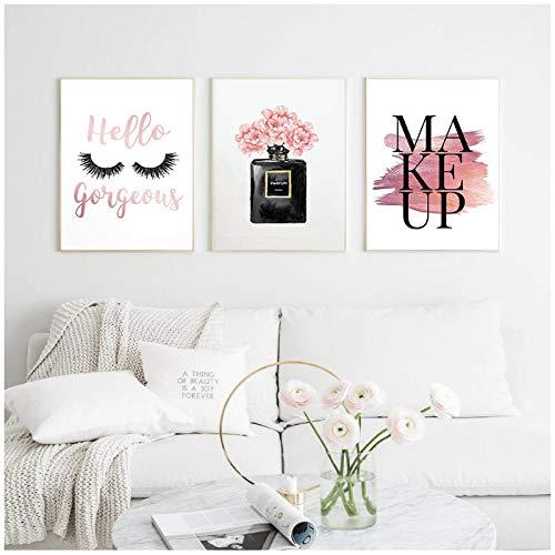 xwwnzdq Moderne Make-Up Poster Wand Kunstdruck Mode Wimpern Leinwand Malerei Parfüm Flasche Bilder Für Wohnzimmer Dekoration 40x60 cm x 3 Kein Rahmen