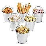 8 Piezas Mini Cubos de Metal,Pequeños cubos de metal Para Plantas,para Caja de dulces, Velas votivas, Baratijas, Macetas de jardín(Plateado,7.7 * 7.5 * 5.6CM)