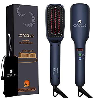 Hair Straightener Brush, MCH Ceramic Heating Hair Straightening Ionic Brush, Frizz-Free Hair Care for Silky Straight Hair Styling, LCD Display, Adjustable Temperature, Anti Scald, Portable