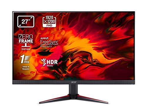 Acer Nitro VG270bmiix 27 Inch FHD Gaming Monitor (IPS Panel, FreeSync, 1ms, ZeroFrame, HDMI, VGA) Black/Red