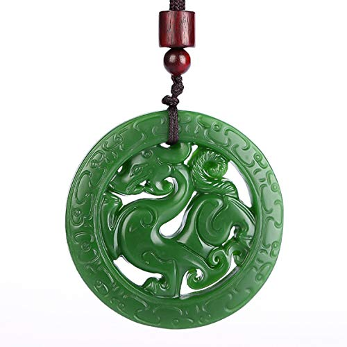 yigedan Colgante de jade verde natural dragón hueco talla amuleto