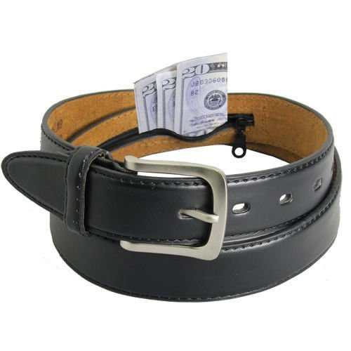 Men's Black Leather Money Belt Sizes 32 Through 56 (38)