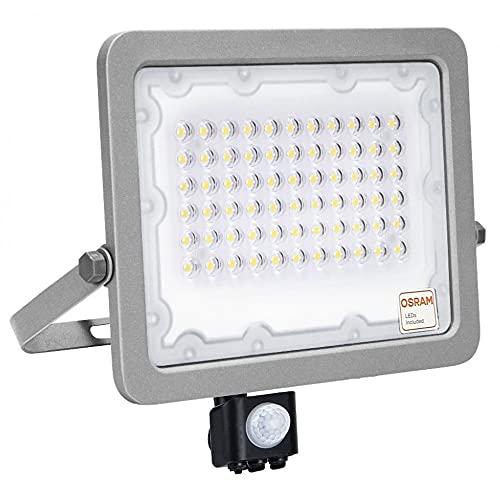 Foco LED con Sensor de movimiento 50W OSRAM, Proyector Exterior Protección IP65 Impermeable, Luz Natural 4000K Gran Luminosidad, Detector PIR para Jardín, Patio, Garaje, Terraza... (50)