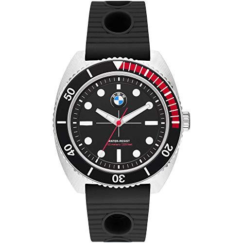 BMW BMW5005 - Reloj analógico para hombre (caucho, acero inoxidable, 10 bares), color negro