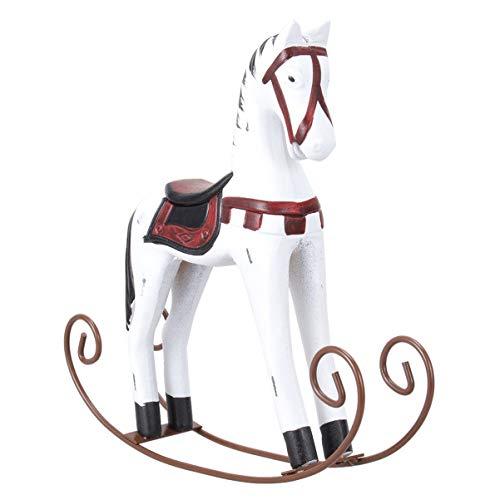 BESPORTBLE Ornamento di Cavallo a Dondolo in Legno Nord Europa retrò Antiche Decorazioni per La Casa per Camera da Letto Soggiorno (Bianco)