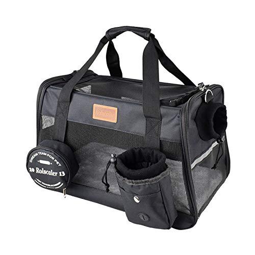 Bolsa para Mascotas,Transportín Perro Gato Transpirable Plegable Pet Carrier Impermeable Bolso de Hombro Acolchado Suave Viaje Avion Tren o Auto por Pequeños Mascota,negro,gris,35.5*23*23cm,43*25*28cm