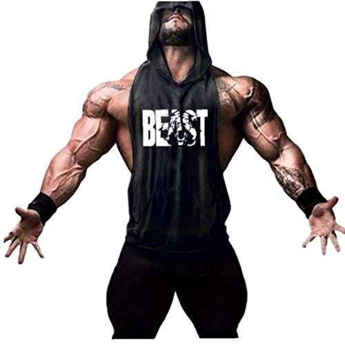 Men Cotton Tank Top mit Kapuze Für Männer Bodybuilding Stringers Tanktops Training Singlet Sleeveless Shirt