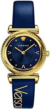 Versace V-Motif Quartz Dark Blue Dial Ladies Watch (VERE00218)