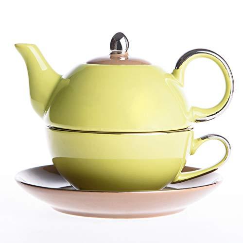 Artvigor, Tea for One Teapot And Cup Servizio da tè in Porcellana Teiera Set con Tazza e Piattino Teiere Caffettiere Ceramica 3 Pezzi per 1 Persona Giallo