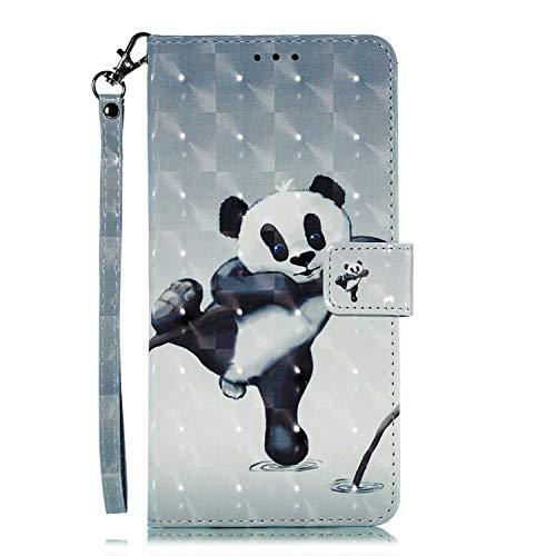 Galaxy A30 Hülle, CAXPRO® Leder und TPU Innere Brieftasche Handyhülle, Flip Ledertasche mit Standfunktion & Kartensfach für Samsung Galaxy A30, Panda