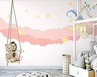 手描きのピンクの月光星空子供部屋プリンセスルーム寝室の背景の壁カスタム壁紙壁装材, 350cm×245cm
