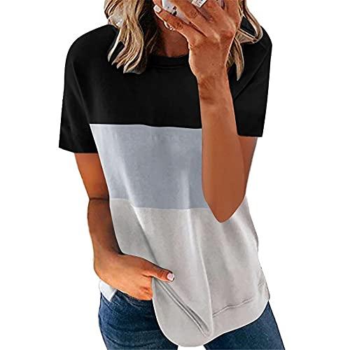 Camiseta Mujer Top Mujer Oversized Loose Cómodo Casual Fashion Hit Color Cuello Redondo Manga Corta Verano Elegante Chic Temperamento Mujer Blusa I-Black Grey 5XL