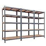 tianxiangjjeu 3 estantes de almacenamiento de 5 niveles de gran capacidad de acero resistente al óxido para garaje, almacén, cobertizo de almacenamiento, color gris