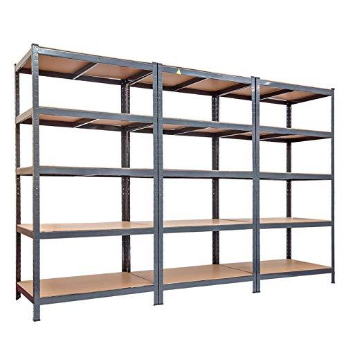 tianxiangjjeu Estante de almacenamiento de acero inoxidable de 5 niveles de gran capacidad, resistente al óxido, para garaje, almacén, cobertizo de almacenamiento, color gris