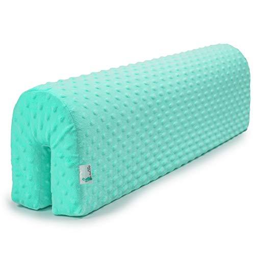 protector cuna barrera cama - protector cama anticaida, infantil protector pared cama niños (menta, 90 cm)