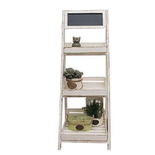 JCNFA planken Vintage wit hout krijtbord Easel met 3-Tier Display planken, Ladder Rack, verwijderbare lade