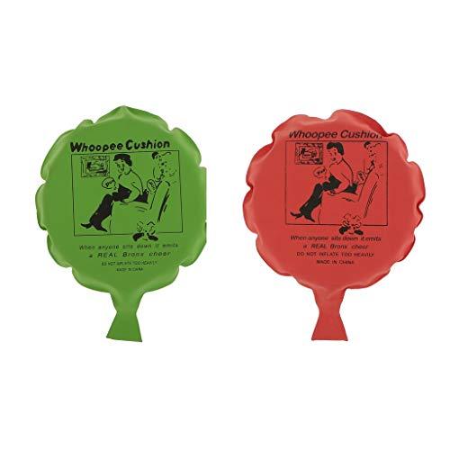 2x Selbstaufblasend Furzkissen Pfurzkissen Pupskissen Whoopee Cushion, ca. 16 cm - Rot + Grün